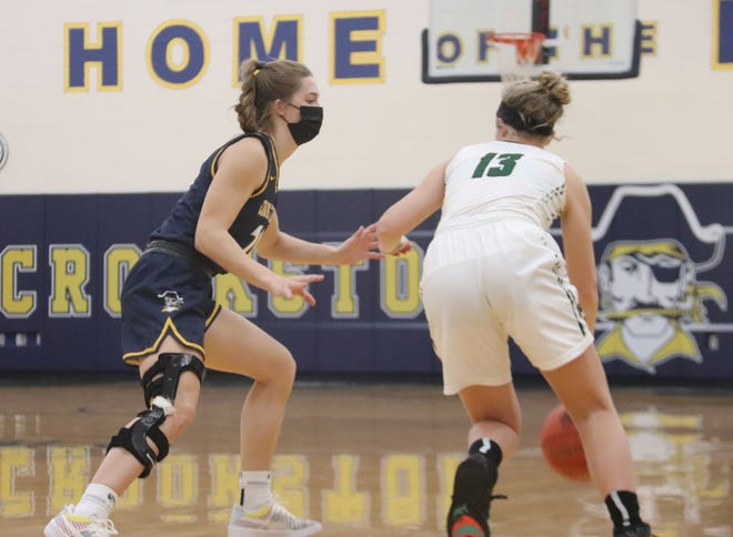 Emma Borowicz guards Roseau's Julia Braaten in a game on Jan. 26. Borowicz led the Crookston girls' basketball team with 15 points in a 61-22 win over the Rams Thursday in Roseau.