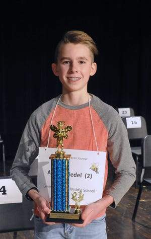 This year's Wayne County Spelling Bee winner is Aaron Miedel from Central Christian Middle School.