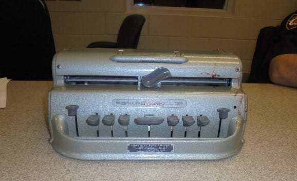 DeLand police said a passenger on a Votran bus was attacked with this Braille machine that still has the victim's blood on it. The passenger ended up at the hospital with a cut to the head.
