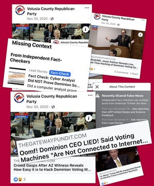 """The Volusia County Republican Party posted 50 articles from right-wing outlets on Facebook about Dominion Voting Systems after the 2020 election, raising questions and alleging fraud, sometimes earning """"false news"""" or fact-check labels. Dominion has filed a $1.3 billion lawsuit against two of former President Donald Trump's lawyers claiming defamation and attempting to regain credibility."""
