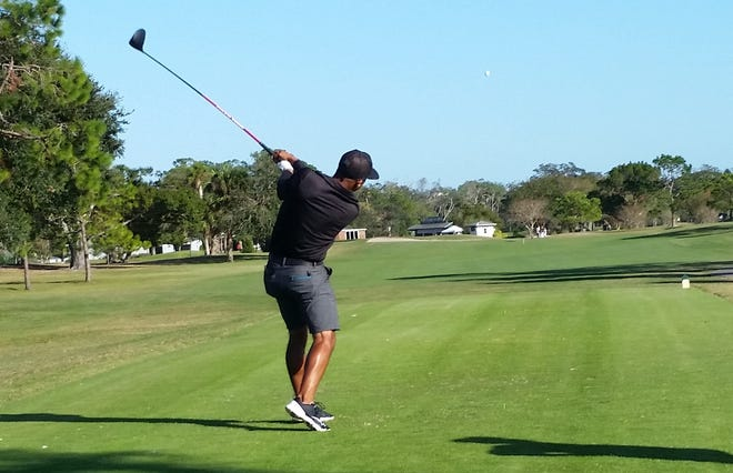 """Willie Mack III, a regular on the Florida Pro Tour, driving from the tee during that tour's Riviera Open in Ormond Beach. Mack gets a start this week at Torrey Pines in San Diego, and next month at the """"other"""" Riviera, outside L.A., in the Genesis Invitational."""