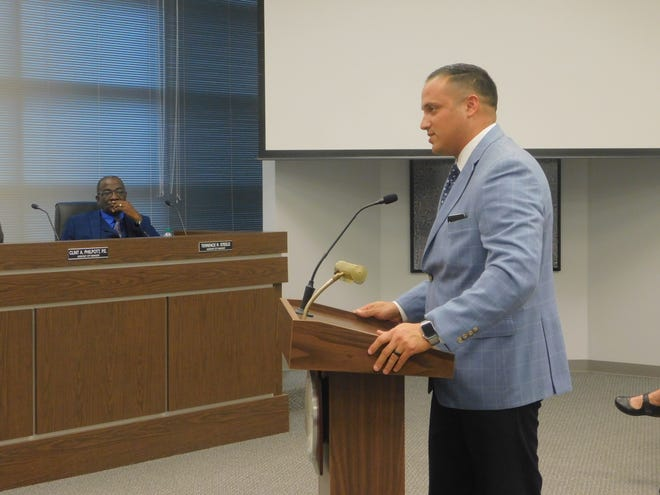 Sherman Police Chief Zachary Flores speaks before the Sherman City Council in March 2020 regarding the proposed purchase of an armored vehicle for department use.