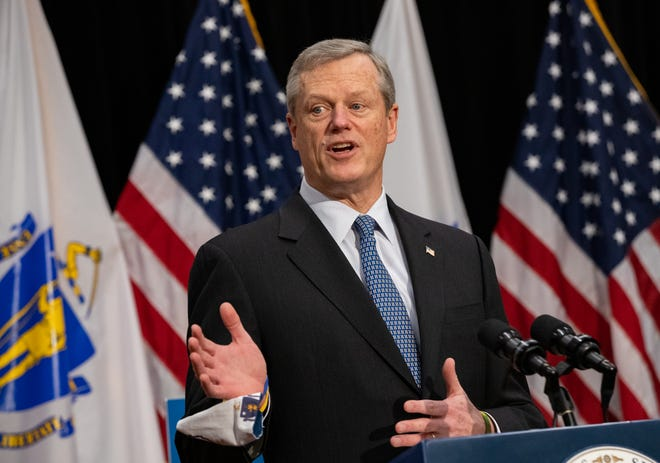 Gov. Charlie Baker unveiled his $45.6 billion fiscal 2022 budget proposal at a press conference Wednesday, Jan. 27, 2021, in the Massachusetts State House. He also spoke to reporters about availability and distribution of the COVID-19 vaccine.