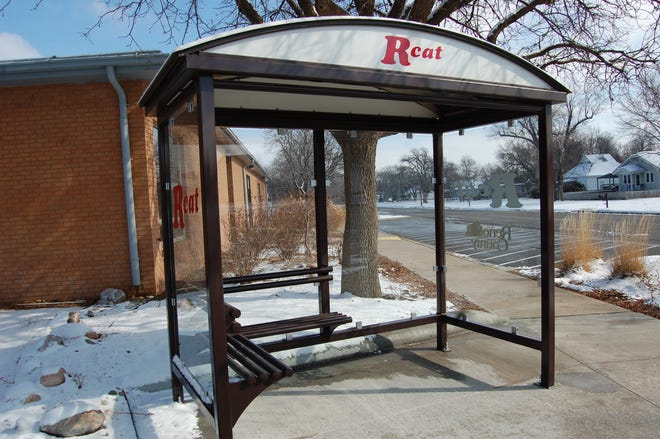 The Reno County Department of Transportation erected this bus shelter outside the Elmdale Community Center in November. Plans for more than a dozen shelters like it using a KDOT grant were scuttled this week because of rising project costs.