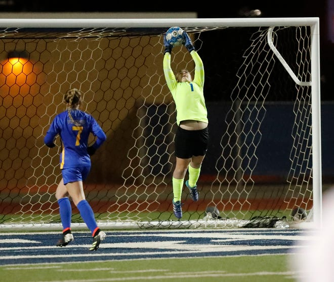 Frenships's goal keeper Kara Murray (1) blocks a shot in the first half of their game between Frenship High School and San Angelo Central High School at the Peoples Bank Stadium in Wolfforth, TX, Tuesday Jan. 26, 2020. (Mark Rogers/For A-J Media)