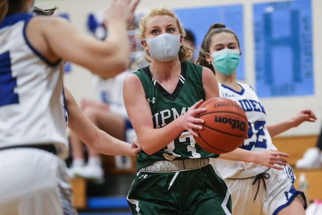 Nipmuc junior Caleigh Christensen drives to the basket during a game last month at Hopedale.