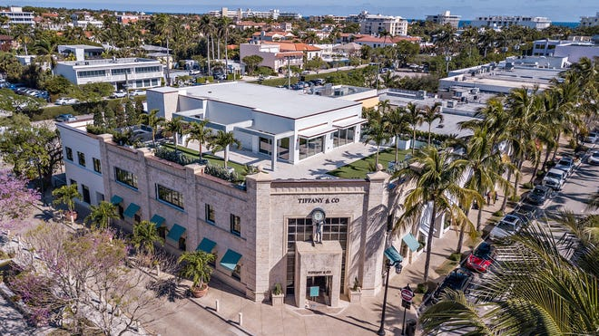 Atop the Tiffany  Building, a rooftop terrace has been completed and will connect to the second-floor condominium under construction at 259 Worth Avenue. The condo just re-entered the market with an asking price of $19.5 million, a record for a condo in Palm Beach.