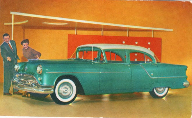 """This mid-1950s postcard for the popular Oldsmobile """"88"""" four-door sedan was distributed by Zoffoli Motors of Portsmouth."""