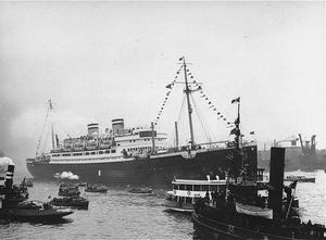 The St. Louis, carrying more than 900 Jewish refugees, waits in the port of Havana, Cuba. The Cuban government denied the passengers entry, June 1939.
