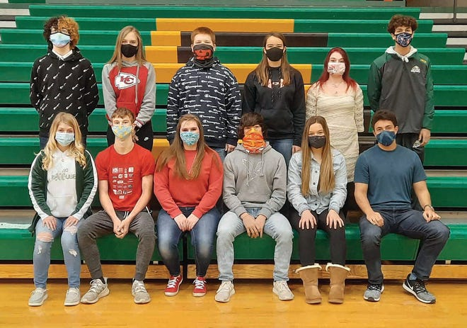 Pratt 2021 Homecoming candidates are (front, from left) seniors Sterling Rector, Kaiser Pelland, Kylee Hopkins, Thirsten Cornelson, Brooklyn Humble and Colby Barrada; (back row) freshmen Xander Lake and Avery Blasi, sophomores Rylen Cota and Jenna Haas, juniors Justice Fanning and Aiden Crow. Homecoming festivities, though abbreviated because of coronavirus precautions, are scheduled to take place Friday, February 5, with limited attendance at 2:30 p.m. and livestream options available.