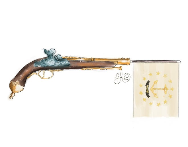 An early 19th-century dueling pistol.