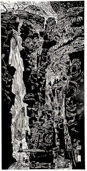 "Artist Erik Sandgren's woodcut, ""Hsien 57,"" now showing at Karin Clarke Gallery in Eugene."