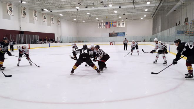 The Rockford IceHogs and the Chicago Wolves, shown facing off in a preseason game in Hoffman Estates on Wednesday, will play again in Rockford's home opener on Saturday.