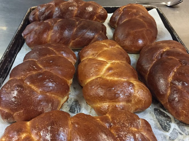 Loafs of challah bread.
