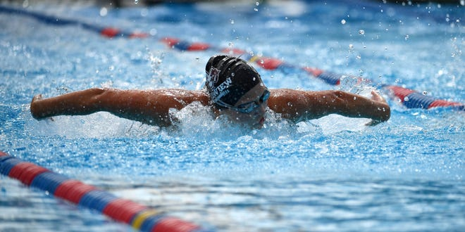 Riverview High's Bethany Rahn competes in the girls 100 yard butterfly during Class 4A-District 6 swim meet in Sarasota on Oct. 23, 2020.