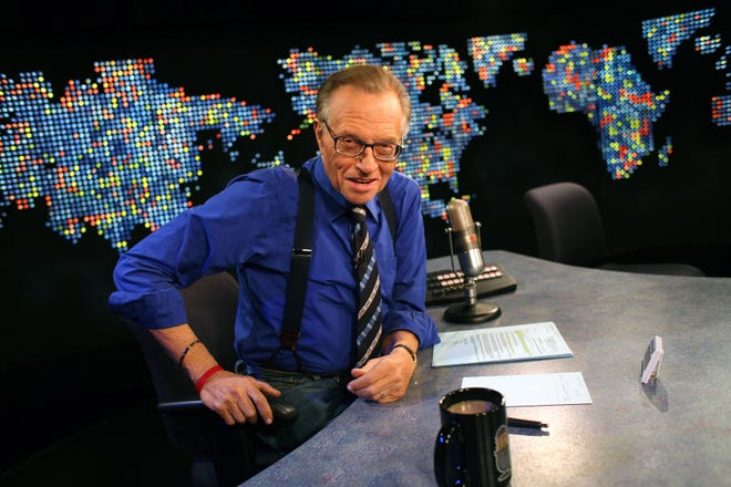 """A 2007 photo of Larry King on the set of his CNN interview show """"Larry King Live,"""" which ran for 25 years. King died Jan. 23 at the age of 87. He kept many radio listeners up all night with his overnight call-in show that ran for 15 years."""