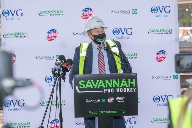 Peter Luukko, Chairman of Oak View Group Facilities, which will manage and operate the new Savannah Arena, addresses attendees at Wednesday's announcement regarding Savannah receiving an expansion professional ice hockey team in the ECHL.