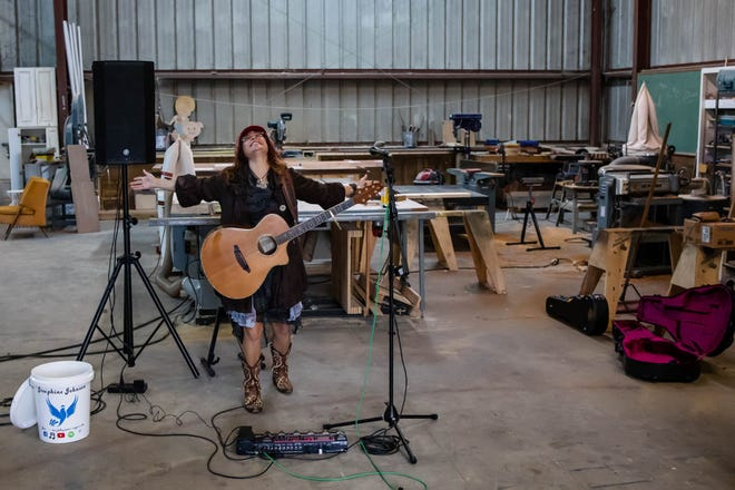 Singer/songwriter Josephine Johnson at her rehearsal space off Old Louisville Road in Savannah.