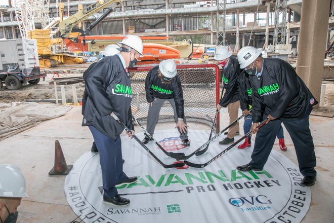 [Randy Thompson/ savannahnow.com} A ceremonial first face-off was held Wednesday at the site of the new Savannah Arena. It was announced at the press conference that Savannah would be receiving a professional ice hockey team for the ECHL in 2022-23.
