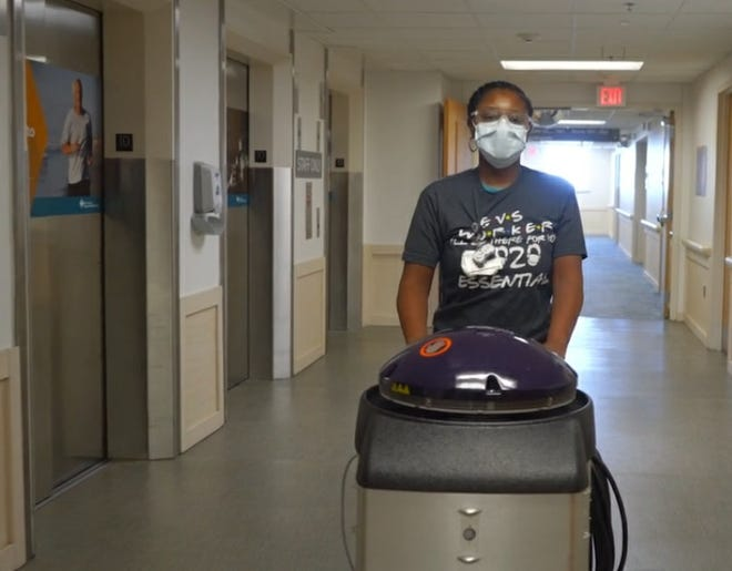 New Hanover Regional Medical Center's Environmental Services team uses germ-killing robots to help sanitize patient areas. These robots were purchased to provide an extra level of sanitation and to enhance the standard cleaning performed by the EVS staff.