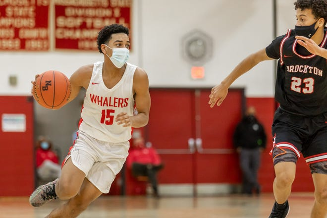 Kendal Franklin, seen here against Brockton earlier this season, had 21 points in Monday's win over Dartmouth in the opening round of the Southeast Conference tournament.