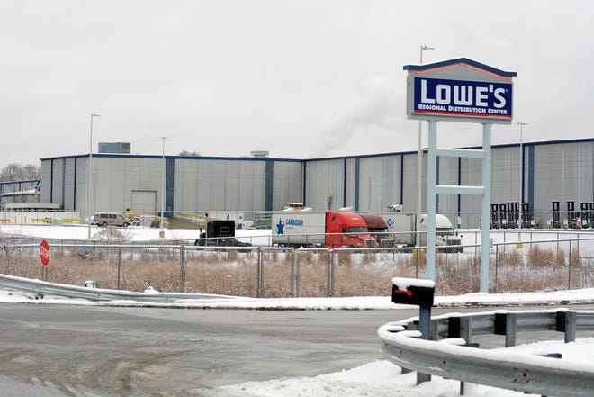 Lowe's Distribution Center in Plainfield Wednesday. [John Shishmanian/ NorwichBulletin.com]