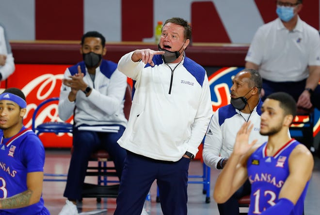 Kansas basketball coach Bill Self shouts instruction during last Saturday's game against Oklahoma in Norman, Okla. The Jayhawks lost 75-68 in an outcome that represented the team's third straight defeat.