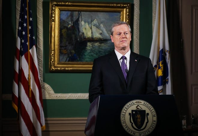 Gov. Charlie Baker delivers his televised State of The Commonwealth Address from his ceremonial State House office Tuesday evening.