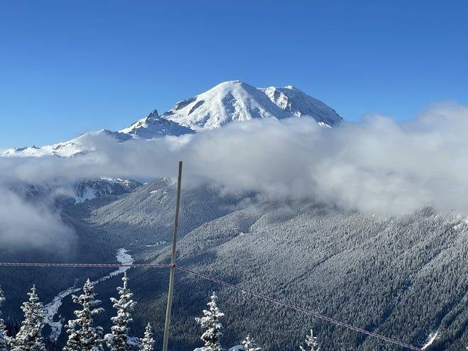 Crystal Mountain ski area is on the flanks of the famed Mount Rainier in Washington state.
