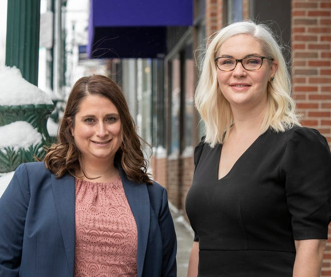 Elizabeth Halloran, left, and Maura Tansley, seen Wednesday, have formed a law firm in Worcester.
