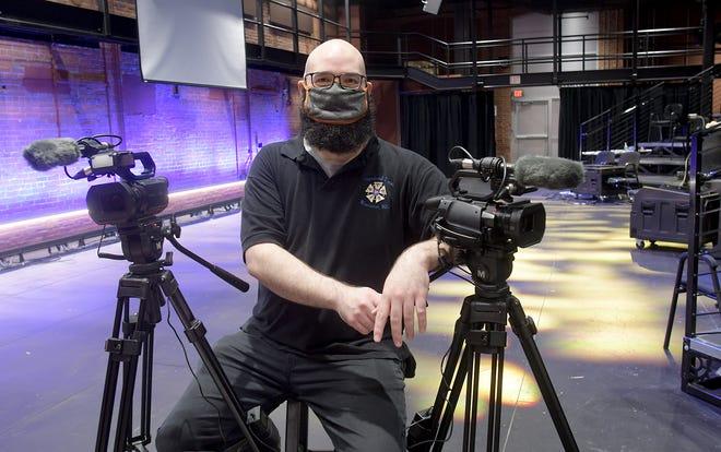 Matt Chrostowski, stagehand and video camera operator at the BrickBox Theater.