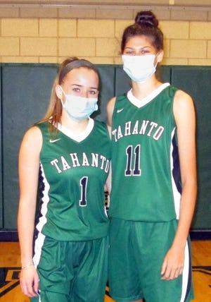 Tahanto girls basketball captains seniors Jenny McGrath (left) and Elsa Keefe.