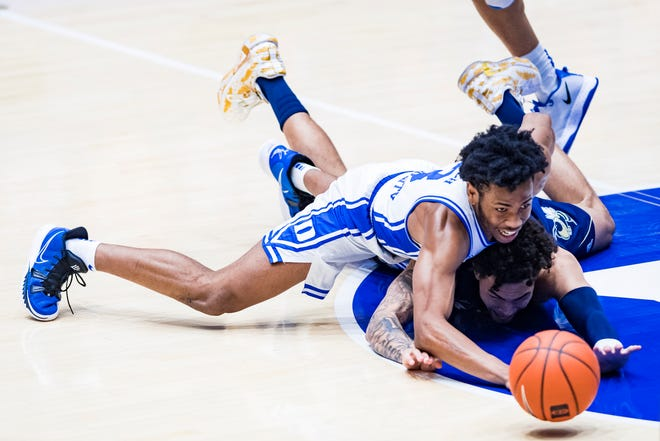 Duke Men's Basketball takes on the Georgia Tech Yellow Jackets in the first half at the Cameron Indoor Stadium on January 26, 2020 at Durham, North Carolina.