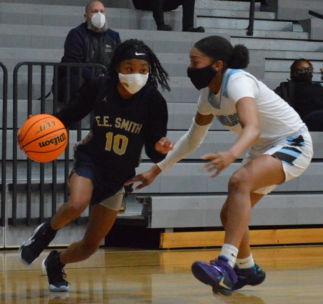 Known for her speed and scoring ability, E.E. Smith sophomore Skylar White (10) finished with a game-high 23 points on Tuesday in the Golden Bulls' win at Overhills.