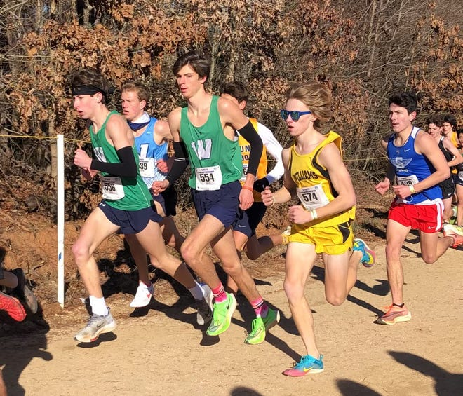 Williams High School's Ryan Motondo, second from right, and Southern Alamance's Daniel King, right, race in Saturday's NCHSAA Class 3-A state championships.