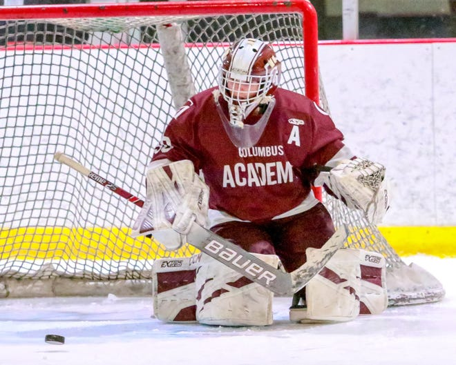 Max Crane has been starting in goal for Columbus Academy since 2017, when the hockey team began play as a junior varsity squad. Before playingOlentangy Berlin on Jan. 29, the Vikings were7-12-0-1 overall and 6-8-0-1 in the CHC-Blue.