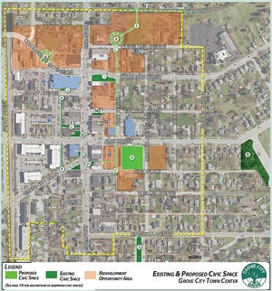 """Grove City's updated Town Center framework includes a map showing the proposed civic spaces in the downtown district (light green); existing and planned civic spaces (dark green) and infill-development opportunity areas (orange.) The proposed civic spaces include the former Grove City Library site at 3359 Park St., represented by the light-green square labeled """"D"""" in the middle of the map."""
