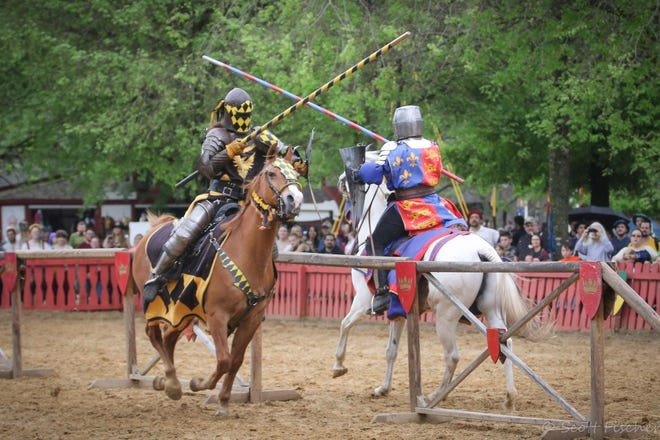 Knights in shining armor joust at Scarborough Renaissance Festival during Memorial Day weekend in 2019. The festival reopens for its 40th season on April 10 after the COVID-19 pandemic forced last season's cancellation.