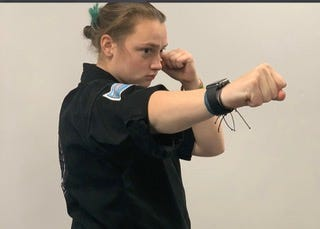 Plymouth South senior Cassidy Abruzzi is working on her second degree black belt in Kenpo Karate.