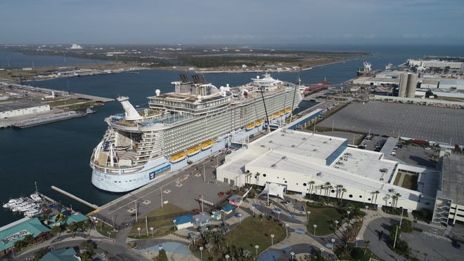 Royal Caribbean International's Allure of the Seas was docked this week at Port Canaveral's Cruise Terminal 1. New furniture and carpeting were being loaded onto the ship, along with other supplies.