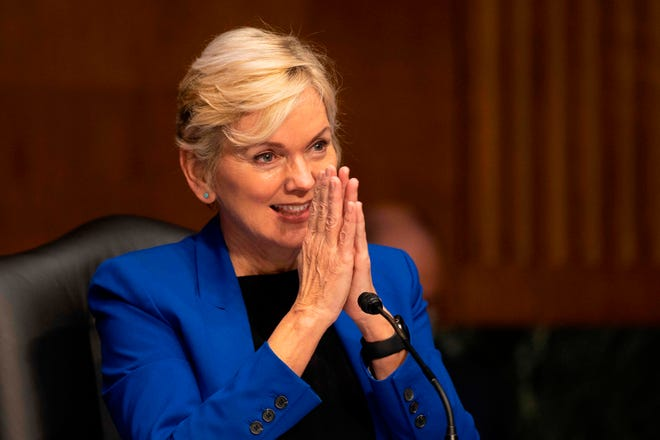 Former Michigan Governor Jennifer Granholm speaks during the Senate Energy and Natural Resources Committee hearing to examine her nomination to be Secretary of Energy, on Capitol Hill in Washington, DC, on January 27, 2021.
