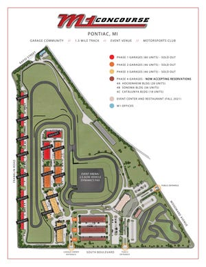 A map of the 87-acre M1 facility shows its 1.5-mile race track, 253 garage units and planned M1 Concourse Event Center and Restaurant (at the southeast corner).