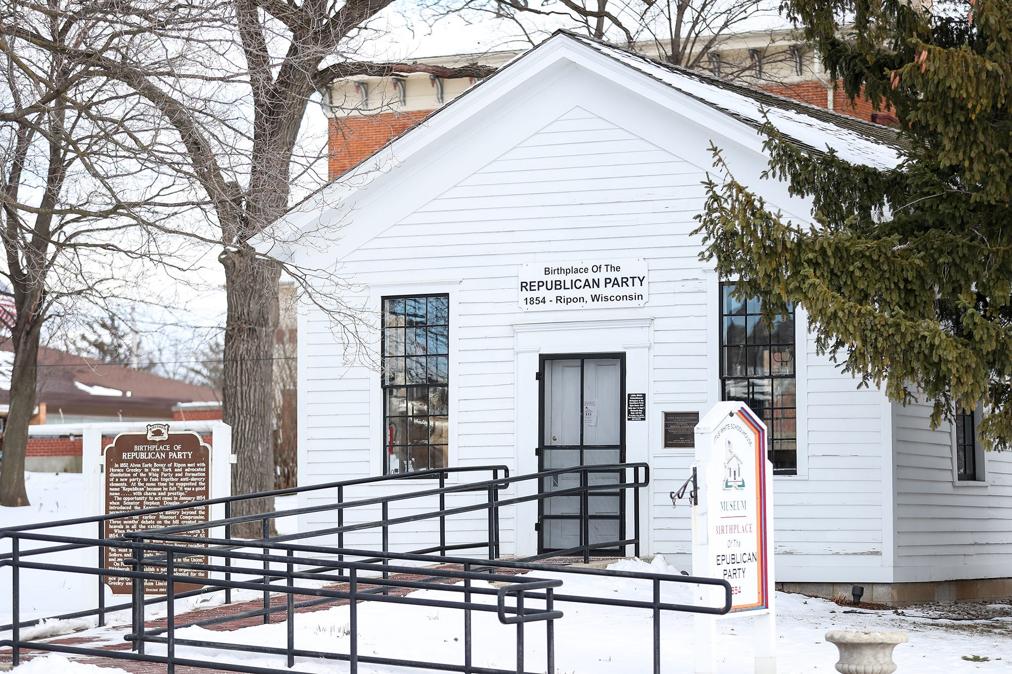 The Little White Schoolhouse, also known as the Birthplace of the Republican Party,  at 305 Blackburn Street in Ripon. Citizens met here in 1854 to discuss the beginnings of the Republican Party.