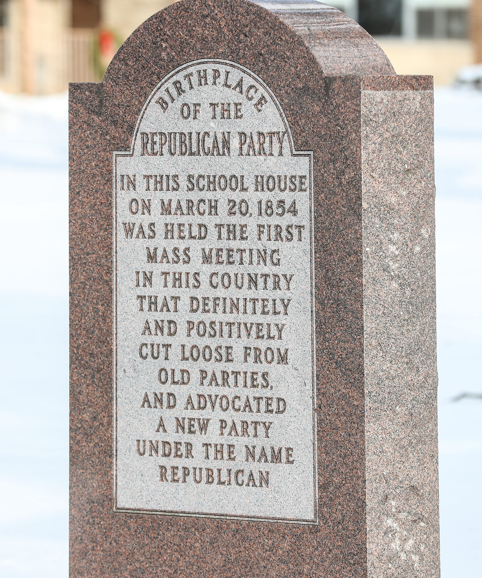 A monument stands outside the Little White Schoolhouse, also known as the Birthplace of the Republican Party, at 305 Blackburn St. in Ripon.