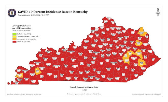 The COVID-19 current incidence rate map for Kentucky as of Tuesday, Jan. 26.