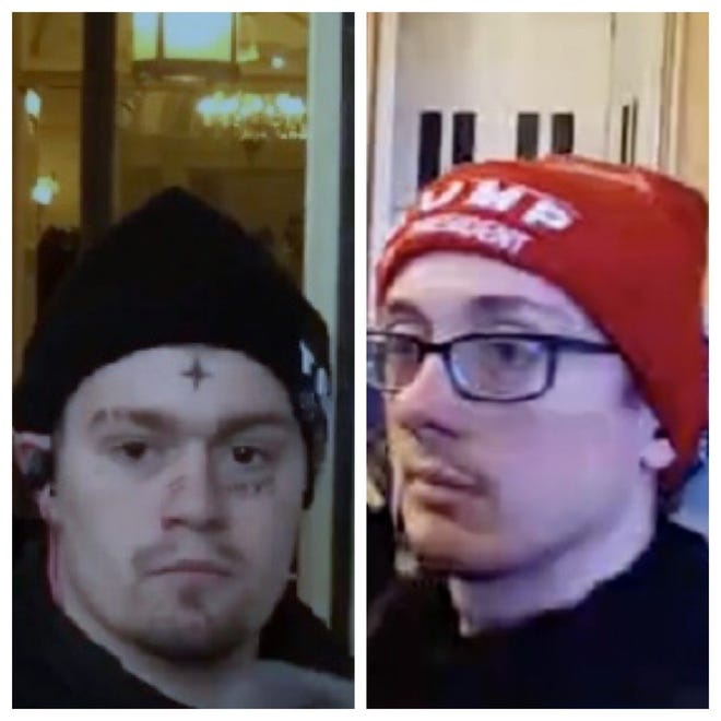 Indiana men Joshua Wagner (right) and Israel Tutrow have been charged for their roles in the Jan. 6 insurrection at the U.S. Capitol.