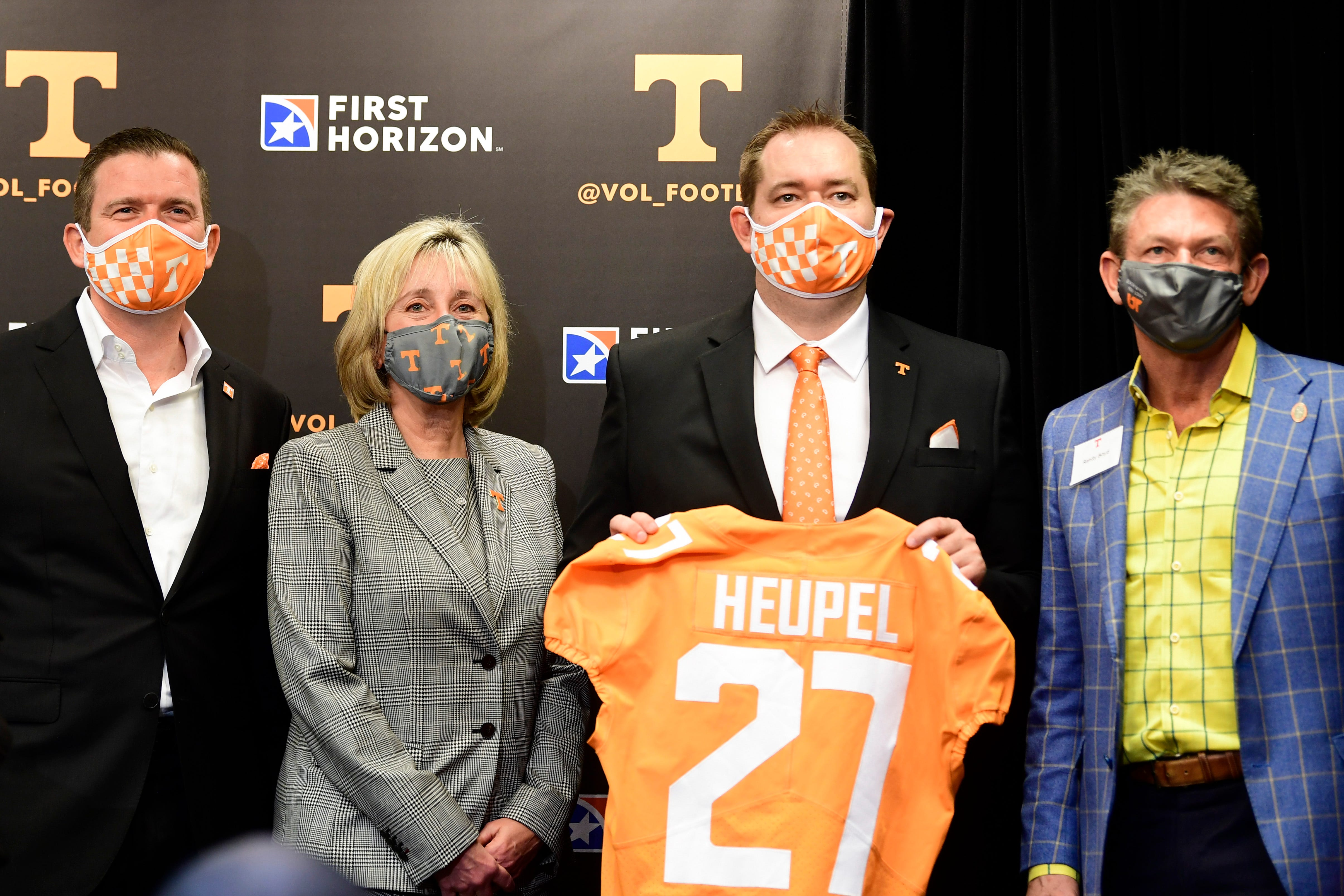 Donde Plowman was determined to make a fast hire for athletics director to keep the process from jumping the tracks. She turned around the hire of new athletics director Danny White in three days, and White hired football coach Josh Heupel within a week. White (from left), Plowman, Heupel and UT System President Randy Boyd gather after the press conference introducing Heupel on Jan. 27, 2021, at Neyland Stadium.
