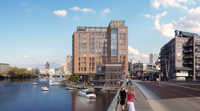 A 10-story Marriott Tribute Portfolio hotel is being proposed for a riverfront site in Milwaukee's Historic Third Ward.