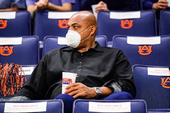 Jan 21, 2021; Auburn, AL, USA; Charles Barkley watches the game during the game between Auburn and Missouri at Auburn Arena. Mandatory Credit: Shanna Lockwood/AU Athletics