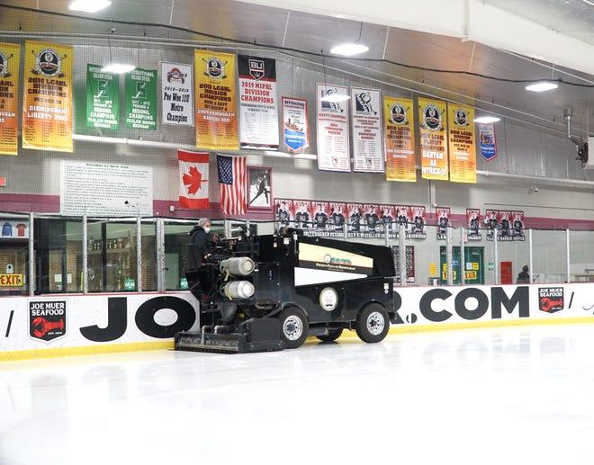 A Zamboni resurfaces the ice at Birmingham's Ice Sports Arena on Jan. 27, 2021.